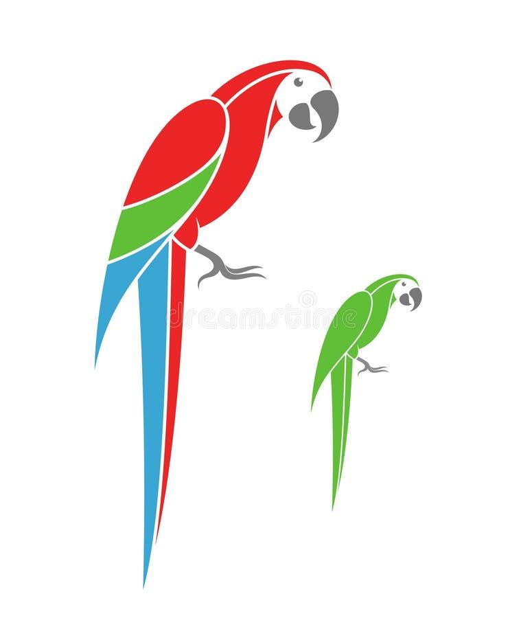 Παπαγάλος Macaw και πράσινος παπαγάλος απεικόνιση αποθεμάτων