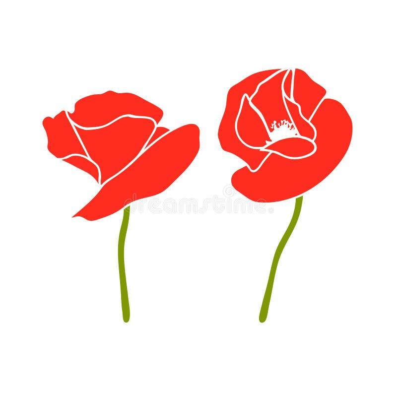 Παπαρούνα δύο κόκκινοι κεφάλια και μίσχοι λουλουδιών r   Πέταλα της Scarlett Ημέρα της ενθύμησης διανυσματική απεικόνιση