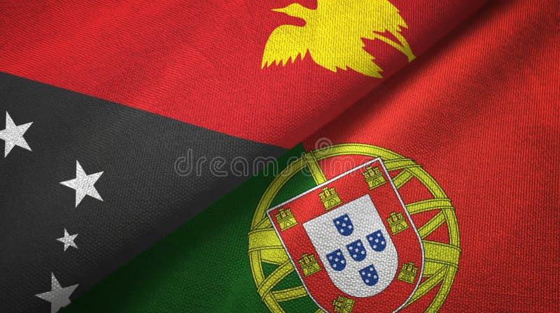 Παπούα Νέα Γουϊνέα και Πορτογαλία δύο υφαντικό ύφασμα σημαιών, σύσταση υφάσματος διανυσματική απεικόνιση