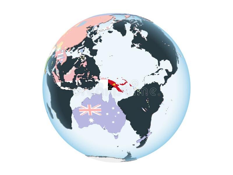 Παπούα Νέα Γουϊνέα με τη σημαία στη σφαίρα που απομονώνεται ελεύθερη απεικόνιση δικαιώματος