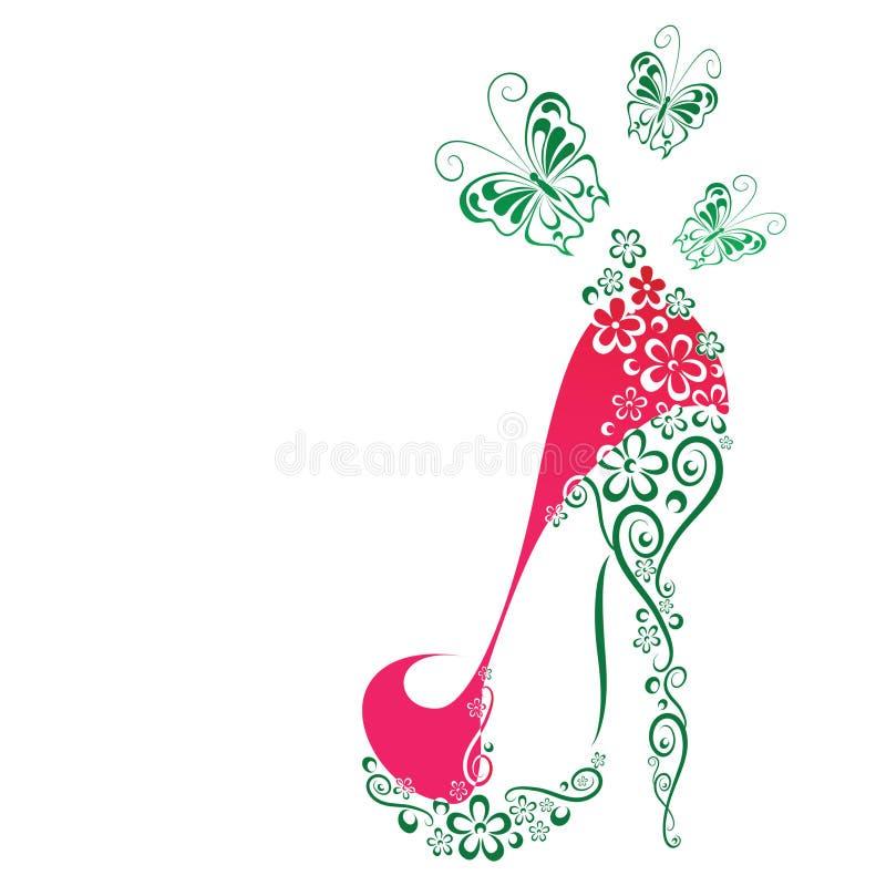 Παπούτσια γυναικών με τα λουλούδια και τις πεταλούδες ελεύθερη απεικόνιση δικαιώματος
