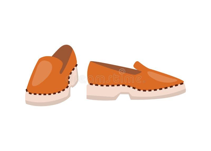 Παπούτσια δέρματος υψηλού - ποιότητα στο στερεό άσπρο πέλμα διανυσματική απεικόνιση