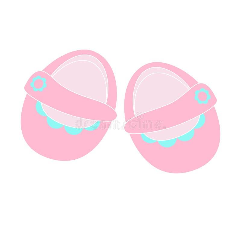 Παπούτσια παιδιών ` s - διανυσματικές απομονωμένες εικονίδιο χαριτωμένες ρόδινες λείες για τα κορίτσια διανυσματική απεικόνιση