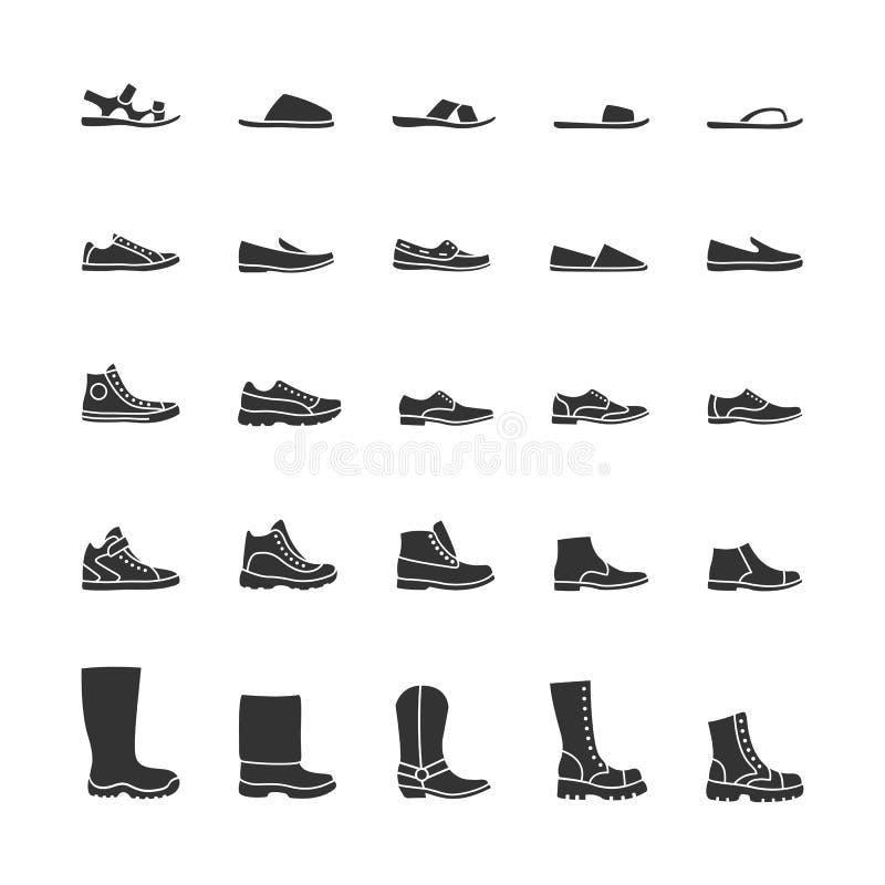 Παπούτσια των ατόμων εικονιδίων Διανυσματικά μαύρα εικονίδια διανυσματική απεικόνιση