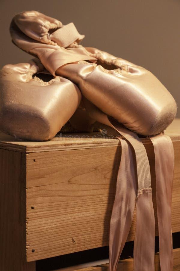 Παπούτσια Pointe στο δραματικό φωτισμό στοκ εικόνα