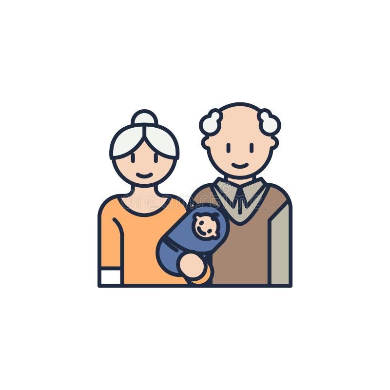 παππούδες και γιαγιάδες και έγχρωμο νήπια εικονίδιο Στοιχείο του οικογενειακού εικονιδίου για την κινητούς έννοια και τον Ιστό ap απεικόνιση αποθεμάτων