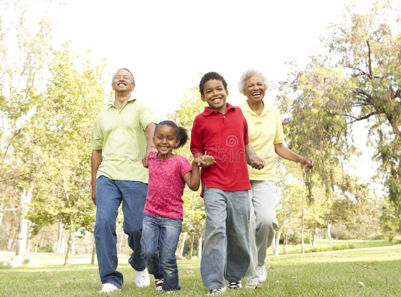 Παππούδες και γιαγιάδες στο πάρκο με τα εγγόνια στοκ εικόνα με δικαίωμα ελεύθερης χρήσης