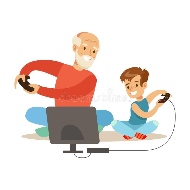 Παππούς και αγόρι που παίζουν τα τηλεοπτικά παιχνίδια, μέρος των παππούδων και γιαγιάδων που έχουν τη διασκέδαση με τη σειρά εγγο διανυσματική απεικόνιση