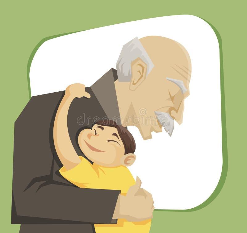 Παππούς και εγγόνι απεικόνιση αποθεμάτων