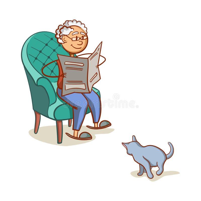 Παππούς με τη γάτα ελεύθερη απεικόνιση δικαιώματος