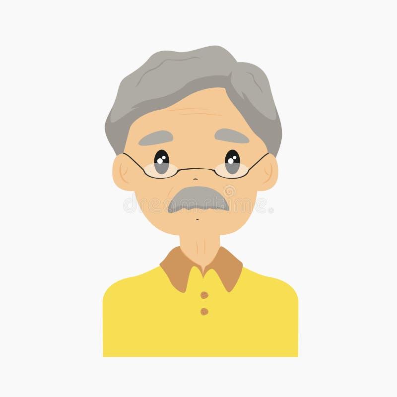 Παππούς, μισό διάνυσμα σώματος διανυσματική απεικόνιση