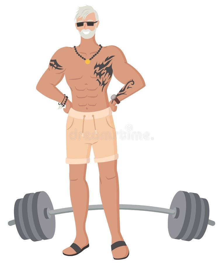 Παππούς Hipster στη γυμναστική, παλαιό αρσενικό Bodybuilder διανυσματική απεικόνιση