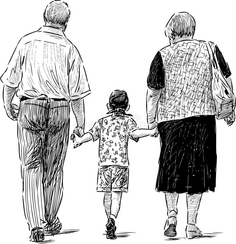 Παππούδες και γιαγιάδες και εγγονός διανυσματική απεικόνιση