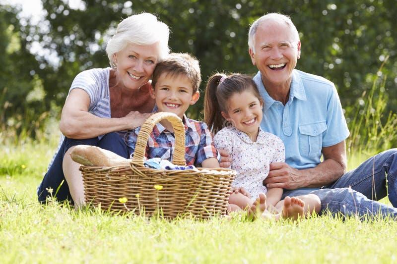 Παππούδες και γιαγιάδες με τα εγγόνια που απολαμβάνουν το πικ-νίκ από κοινού στοκ φωτογραφία με δικαίωμα ελεύθερης χρήσης