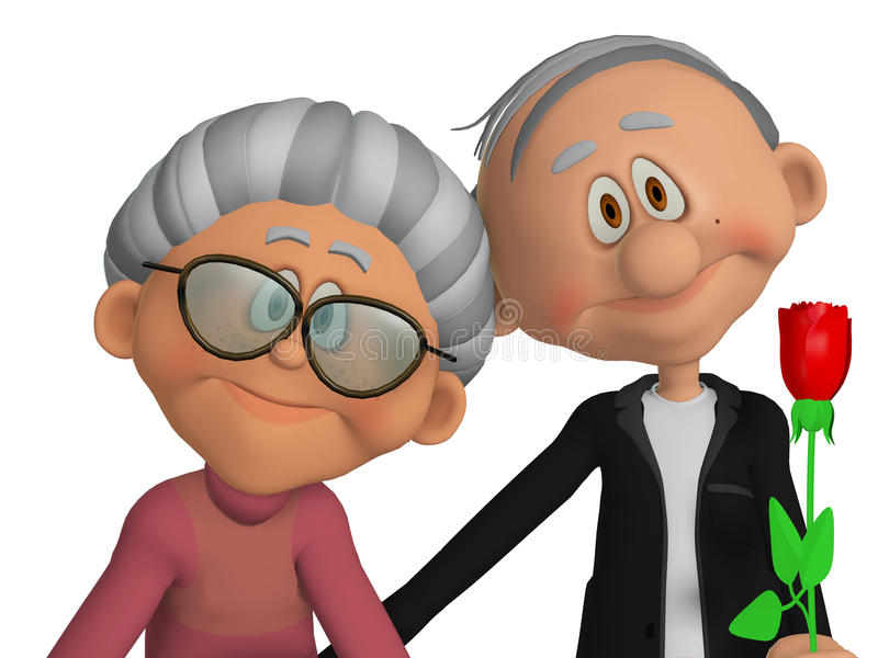 Παππούδες και γιαγιάδες τρισδιάστατοι απεικόνιση αποθεμάτων
