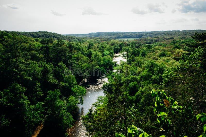 Παράβλεψη του κρατικού πάρκου ποταμών ιτιών στο Ουισκόνσιν στοκ φωτογραφίες