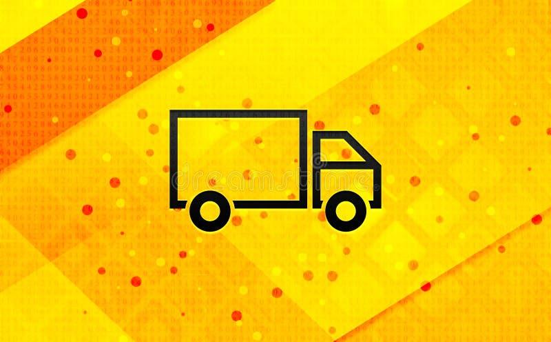 Παράδοσης φορτηγών κίτρινο υπόβαθρο εμβλημάτων εικονιδίων αφηρημένο ψηφιακό ελεύθερη απεικόνιση δικαιώματος