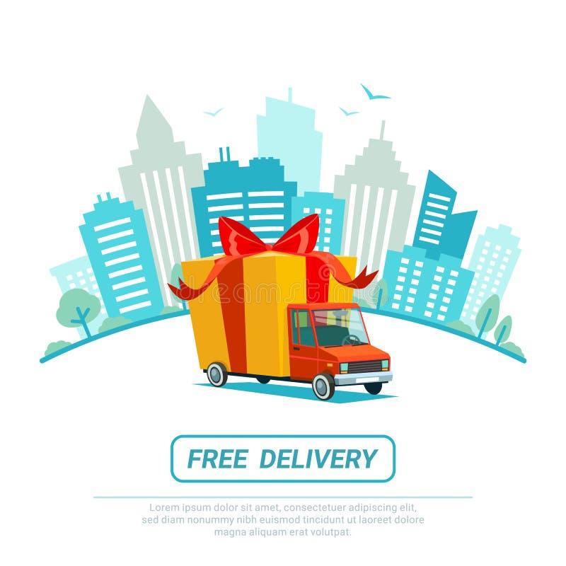 παράδοση έννοιας ελεύθε& Φορτηγό παράδοσης με το κιβώτιο δώρων, δέμα Υπηρεσία παράδοσης που στέλνει με το αυτοκίνητο ή το φορτηγό διανυσματική απεικόνιση