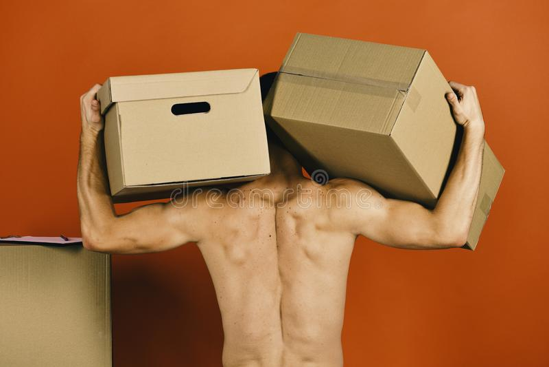 Παράδοση και κίνηση στην έννοια: προκλητική γυμνή πλάτη τύπων στοκ φωτογραφία με δικαίωμα ελεύθερης χρήσης