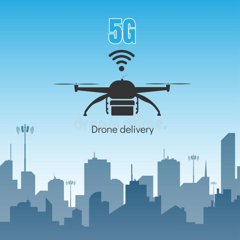 Παράδοση κηφήνων με την έννοια υψηλής ταχύτητας 5G Διαδίκτυο ελεύθερη απεικόνιση δικαιώματος