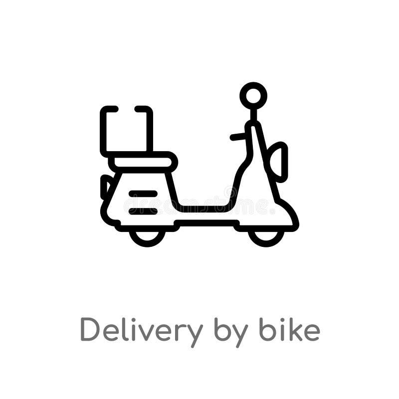 παράδοση περιλήψεων από το διανυσματικό εικονίδιο ποδηλάτων απομονωμένη μαύρη απλή απεικόνιση στοιχείων γραμμών από την έννοια πα ελεύθερη απεικόνιση δικαιώματος