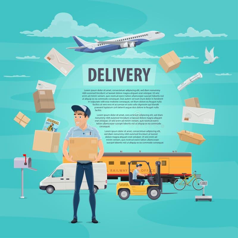 Παράδοση της μετα διανυσματικής αφίσας υπηρεσιών ταχυδρομείου διανυσματική απεικόνιση