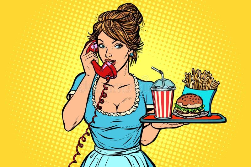Παράδοση Υπηρεσία ξενοδοχείων σερβιτόρα γρήγορο φαγητό σε έναν δίσκο ελεύθερη απεικόνιση δικαιώματος