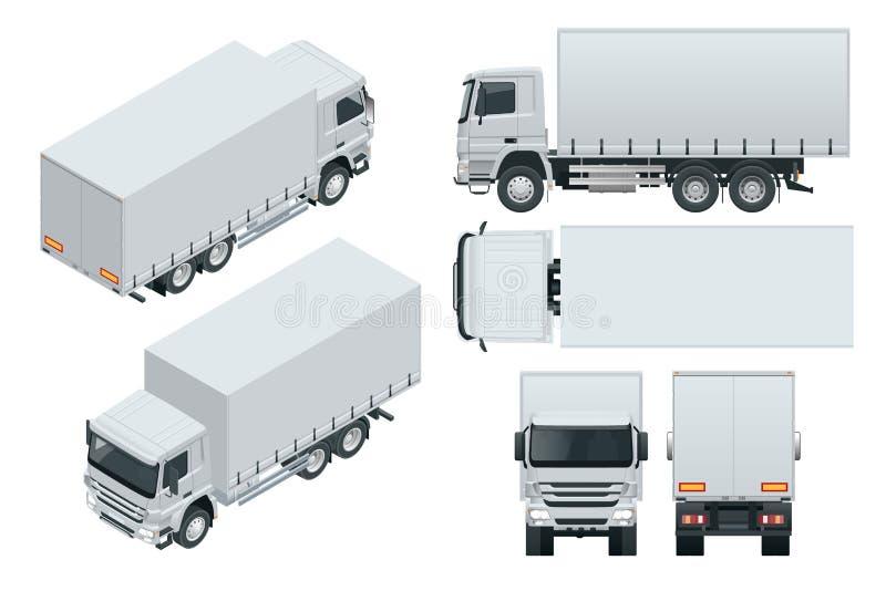 Παράδοση φορτηγών, απομονωμένο πρότυπο πρότυπο φορτηγών στο άσπρο υπόβαθρο Isometric, δευτερεύουσα, μπροστινή, πίσω, τοπ άποψη ελεύθερη απεικόνιση δικαιώματος