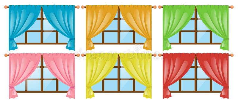 Παράθυρα με τις διαφορετικές κουρτίνες χρώματος απεικόνιση αποθεμάτων