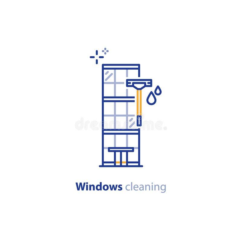 Παράθυρα που καθαρίζουν το εικονίδιο γραμμών έννοιας υπηρεσιών, κτίριο γραφείων απεικόνιση αποθεμάτων