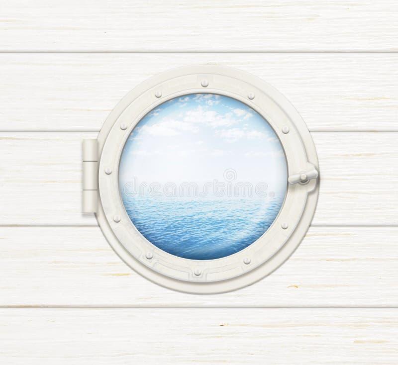 Παράθυρο ή παραφωτίδα σκαφών στον άσπρο ξύλινο τοίχο στοκ φωτογραφίες