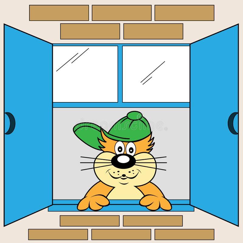 παράθυρο γατών κινούμενων σχεδίων απεικόνιση αποθεμάτων