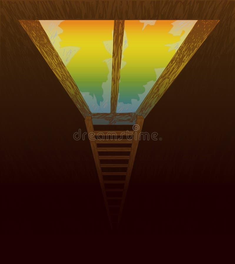 Παράθυρο και μια σκάλα που οδηγεί στην ελευθερία και τη διαφυγή απεικόνιση αποθεμάτων