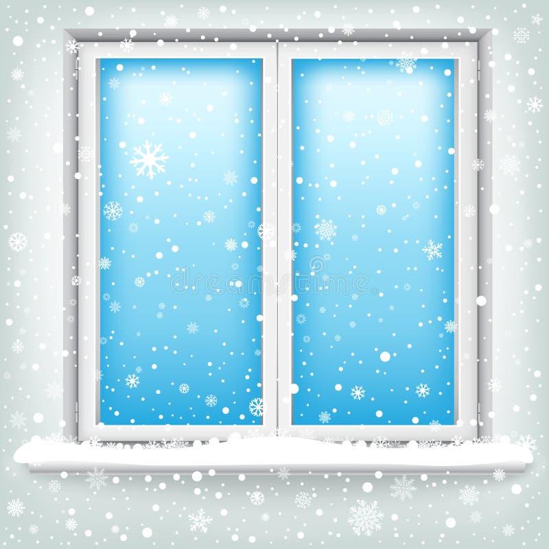 Παράθυρο και χιόνι διανυσματική απεικόνιση
