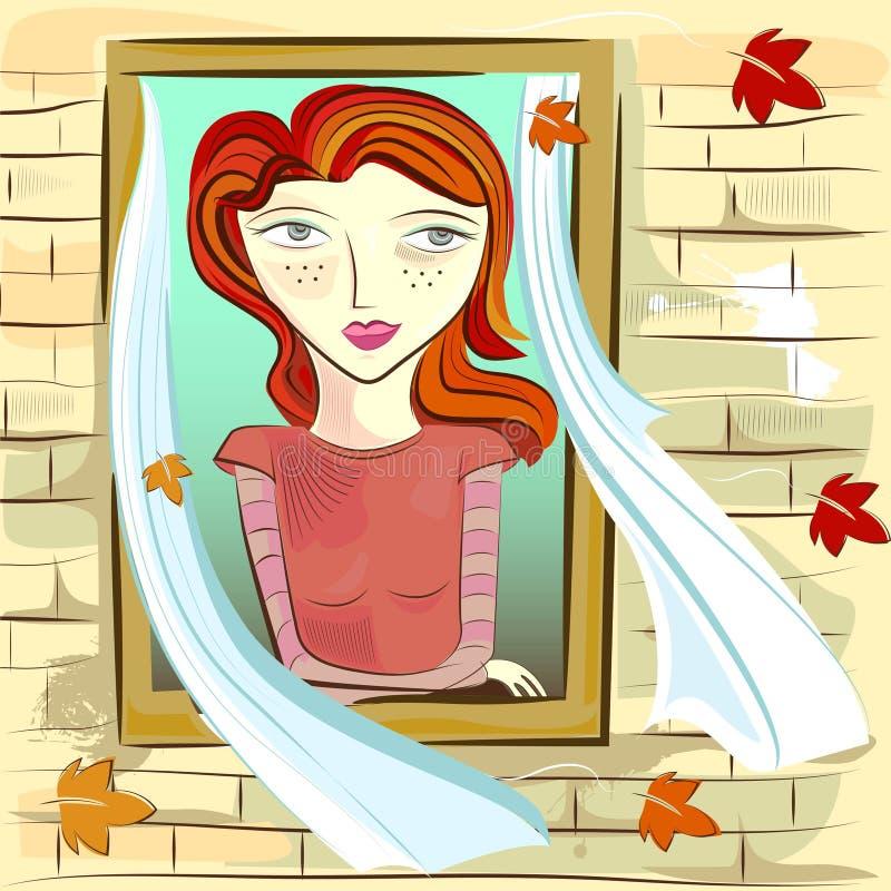 παράθυρο κοριτσιών απεικόνιση αποθεμάτων