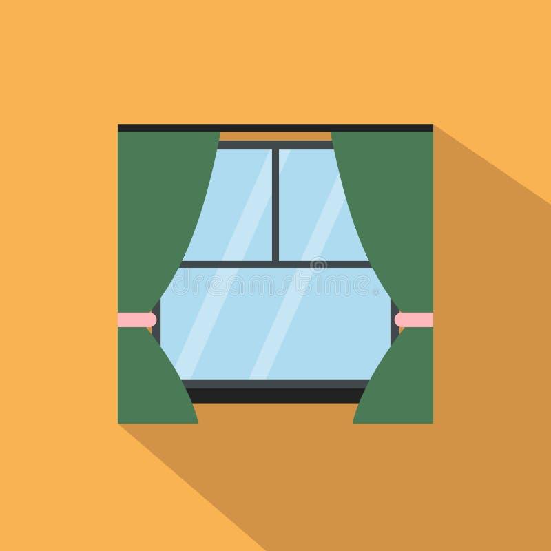 Παράθυρο με το επίπεδο εικονίδιο κουρτινών απεικόνιση αποθεμάτων