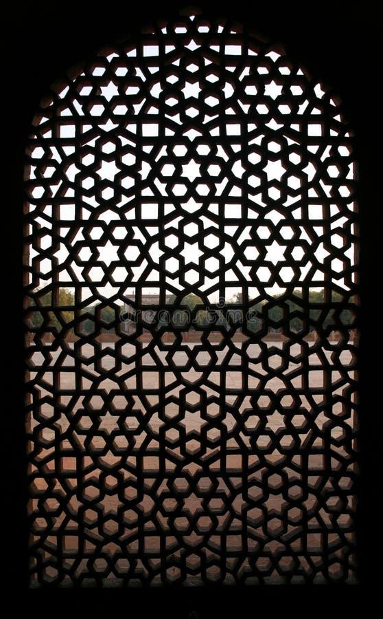παράθυρο τάφων προτύπων του Δελχί humayun στοκ εικόνα