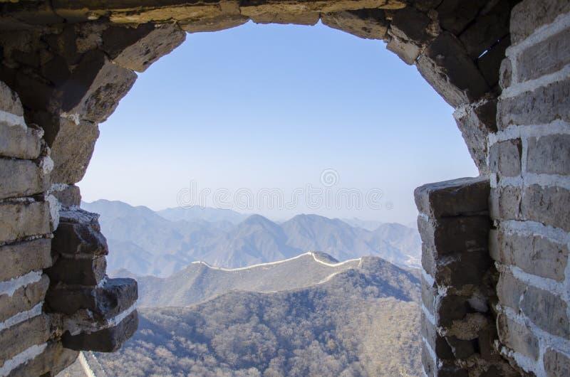 Παράθυρο του μεγάλου κινεζικού τοίχου στοκ εικόνα με δικαίωμα ελεύθερης χρήσης