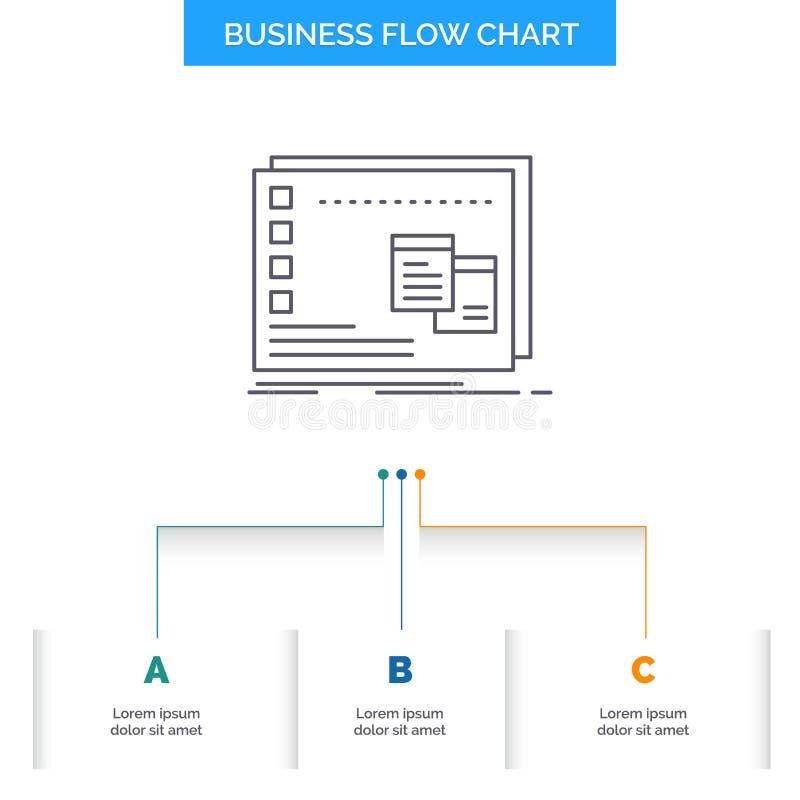 Παράθυρο, Mac, λειτουργική, OS, σχέδιο διαγραμμάτων επιχειρησιακής ροής προγράμματος με 3 βήματα Εικονίδιο γραμμών για το πρότυπο διανυσματική απεικόνιση