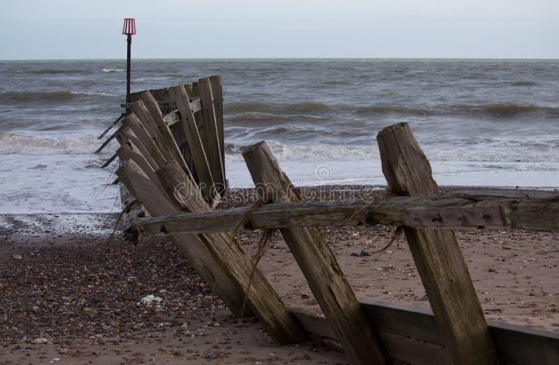 Παράκτια ζημία θύελλας σε Dawlish Warren στοκ φωτογραφία