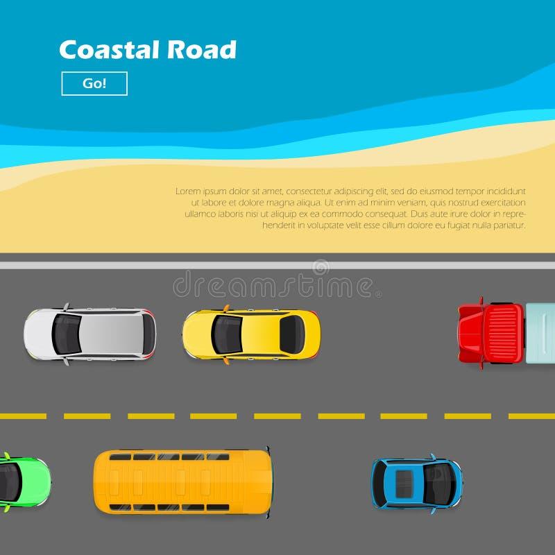 Παράκτιος δρόμος Έμβλημα AutoTransport Σημάδια γραμμών ελεύθερη απεικόνιση δικαιώματος