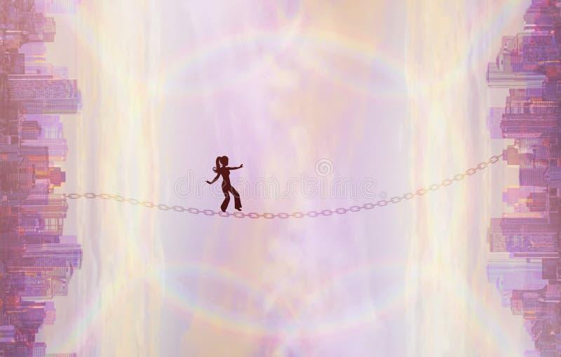 Παράλληλοι κόσμοι, μετατόπιση πραγματικότητας, σκιαγραφία στην ισορροπία, νωθρή γραμμή διανυσματική απεικόνιση