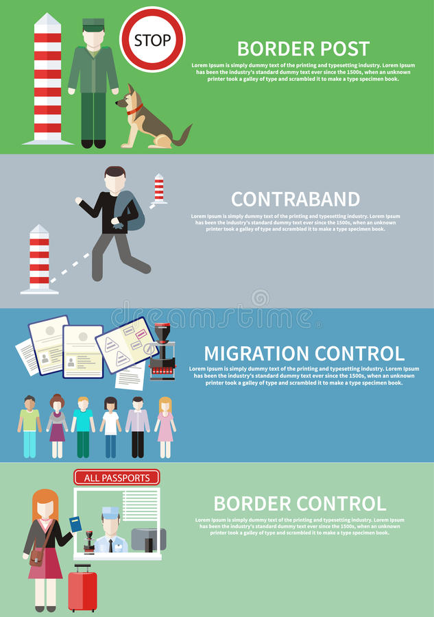 Παράνομη διακίνηση, συνοριακός έλεγχος, θέση και μετανάστευση απεικόνιση αποθεμάτων