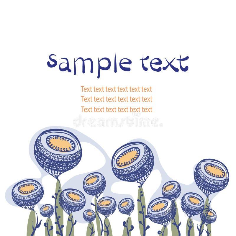 Παράξενη floral σύνθεση με το διάστημα για το κείμενο διανυσματική απεικόνιση