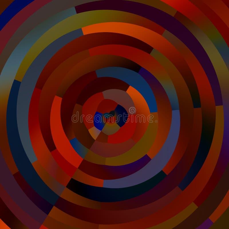 Παράξενοι ζωηρόχρωμοι κύκλοι Αφηρημένο μωσαϊκό μορφών Διακοσμητικά λωρίδες κύκλων ανασκόπηση τέχνης δημιουργική Έγχρωμη εικονογρά ελεύθερη απεικόνιση δικαιώματος
