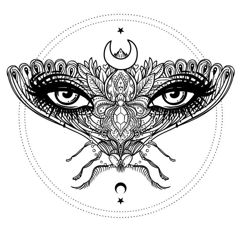 Παράξενος όμορφος σκώρος σε ένα πρόσωπο κοριτσιών Περίκομψη διακοσμημένη πεταλούδα ελεύθερη απεικόνιση δικαιώματος