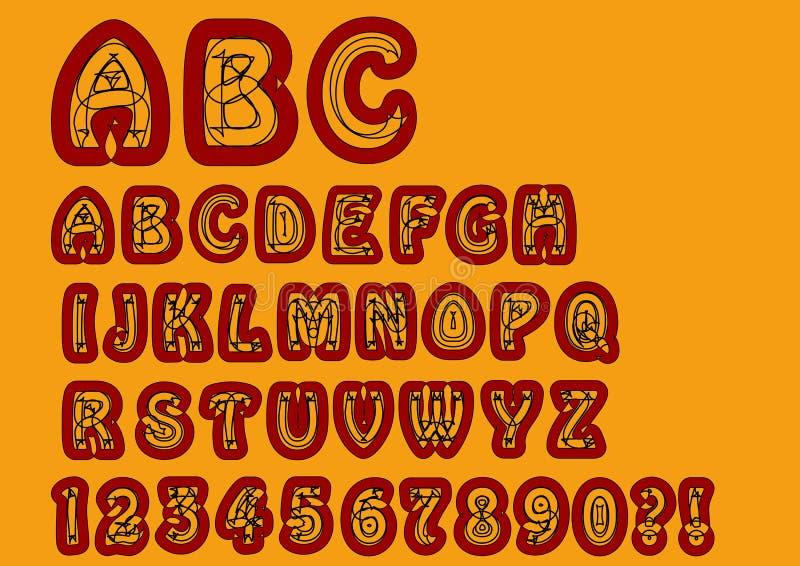 Παράξενο αλφάβητο μη κονφορμιστών Αρχική πηγή που τίθεται με τα στοιχεία doodle, τους κεφαλαίους χαρακτήρες και τους αριθμούς, ερ απεικόνιση αποθεμάτων