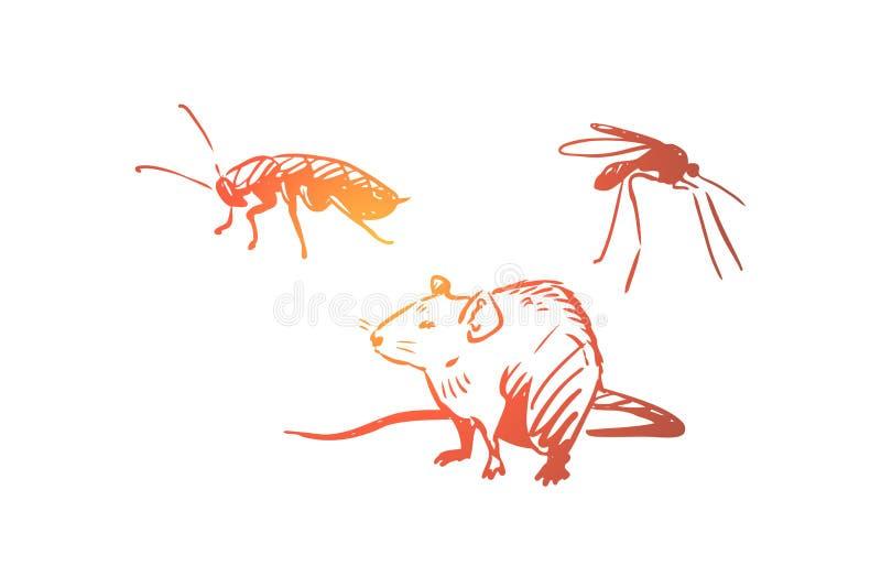 Παράσιτο, έλεγχος, κατσαρίδα, έντομο, έννοια ζωύφιου Συρμένο χέρι απομονωμένο διάνυσμα διανυσματική απεικόνιση