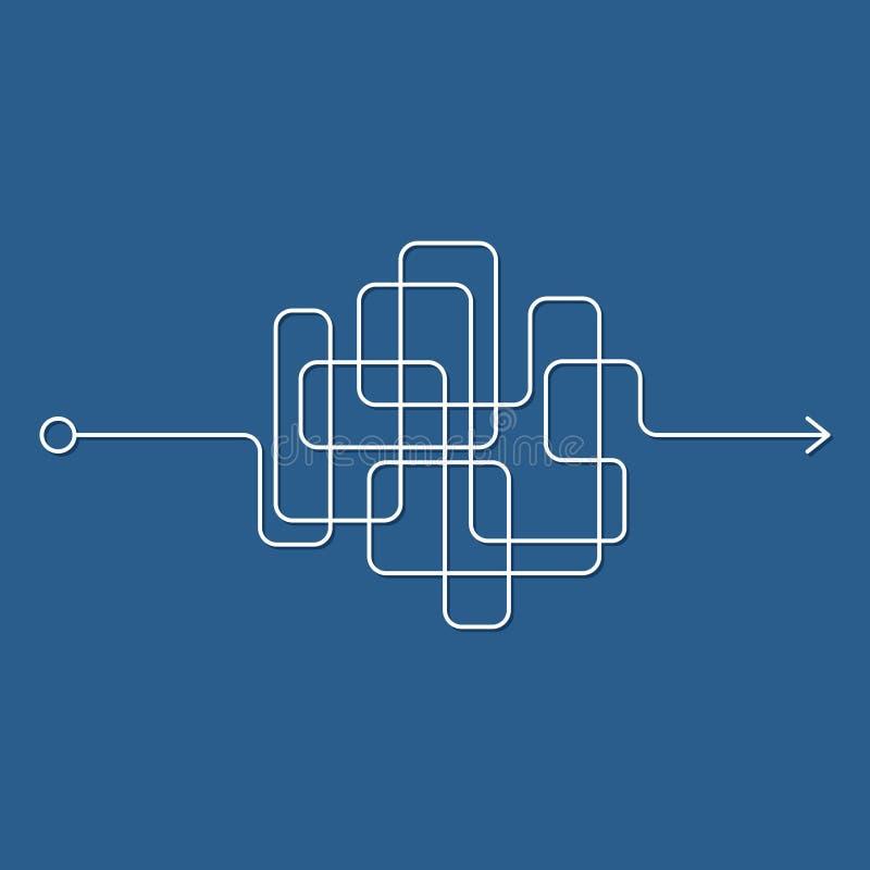 Παράφρων ακατάστατη γραμμή, περίπλοκος τρόπος κουβαριών στο μπλε υπόβαθρο Μπλεγμένη πορεία κακογραφίας, χαοτικός δύσκολος τρόπος  διανυσματική απεικόνιση