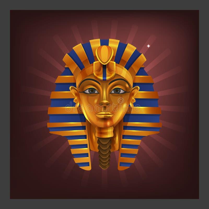 Παράδειγμα το κινούμενων σχεδίων χρυσό ειδώλιο pharoah επιτεύγματος αιγυπτιακό για την οθόνη παιχνιδιών απεικόνιση αποθεμάτων